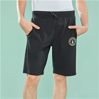 Embroidered penguin drawstring waist shorts