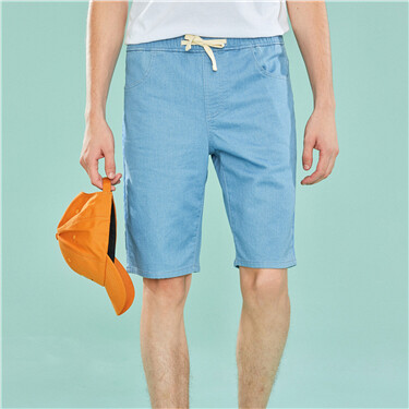 Elastic waist drawstring denim shorts