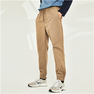 Cotton elastic waistband joggers