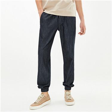 纯棉松紧腰束脚薄牛仔长裤