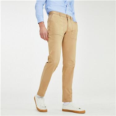 男裝彈力棉工裝貼袋輕薄休閒長褲