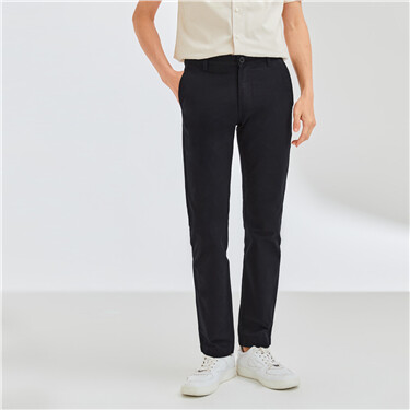 Cotton mid-low waist casual pants