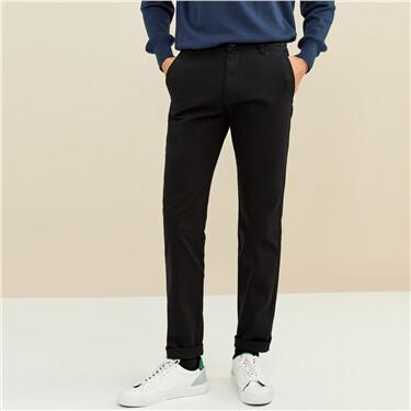 纯棉纯色中低腰休闲长裤