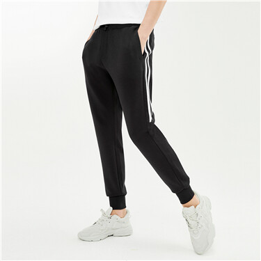 Contrast stretchy elastic waistband joggers