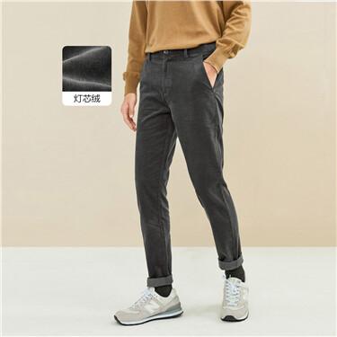 厚实灯芯绒纯棉中腰休闲长裤