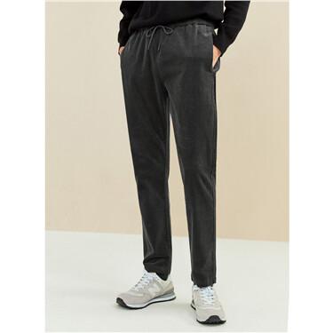 Corduroy elastic wasitband pants