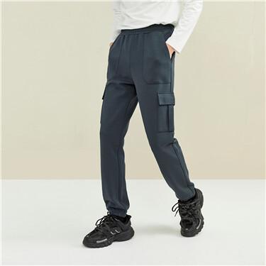 【網上獨家】男裝雙面布工裝口袋鬆緊腰束腳褲