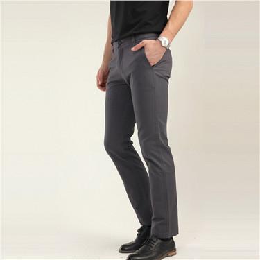 纯棉修身中低腰休闲长裤