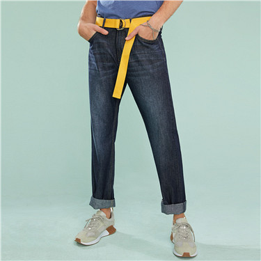 Washed cotton thin straight jeans