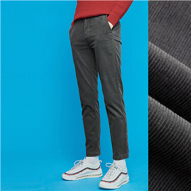 Corduroy button closure zip fly pants