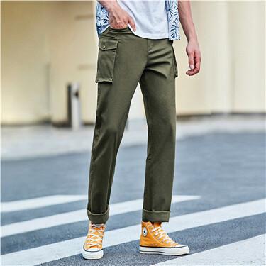 弹力棉中腰工装休闲长裤
