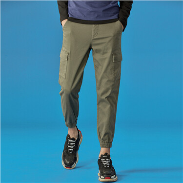 Multi-pocket stretchy joggers