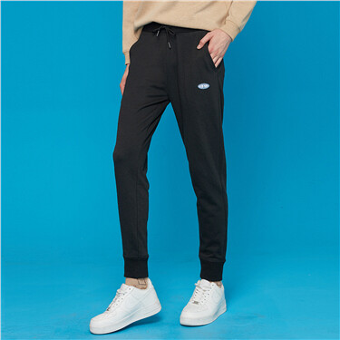 Embroidery elastic waistband banded cuffs joggers