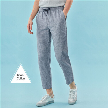 Linen-cotton elastic waistband ankle-length pants