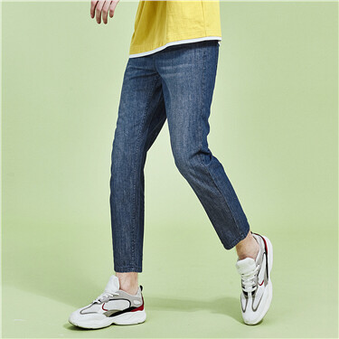 Moustache effect ankle-length denim jeans