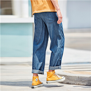 Moustache effect straight lightweight jeans