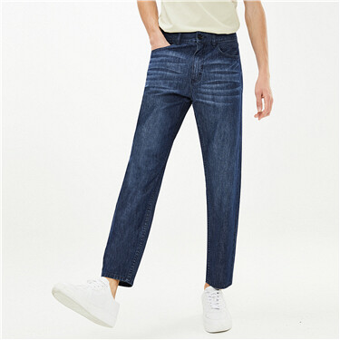 Moustache effect five-pocket jeans