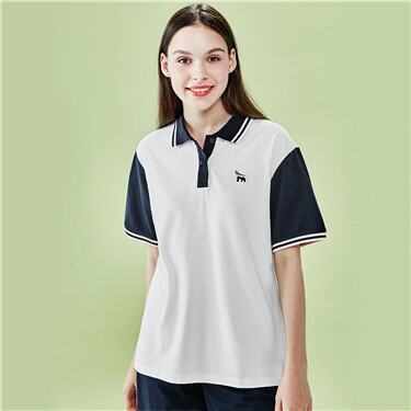 Contrast loose stretchy polo shirt