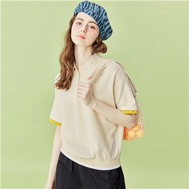 Contrast collar short-sleeve polo shirt