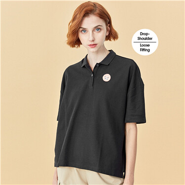 Embroidery loose polo shirt
