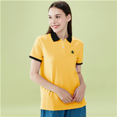 Embroidery stretchy pique polo