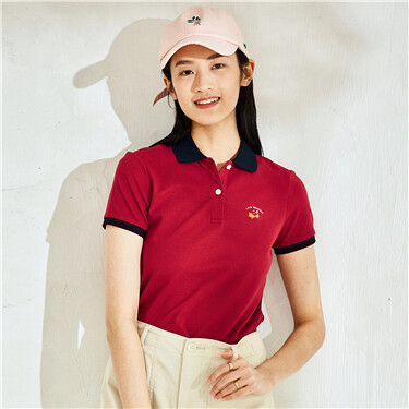 Embroidery stretchy pique polo shirt
