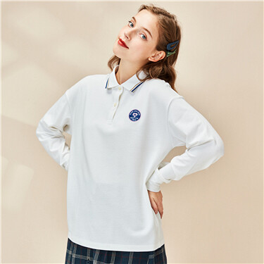 Badge stretchy pique long-sleeve polo shirt