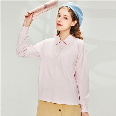 Dropped-shoulder loose polo shirt