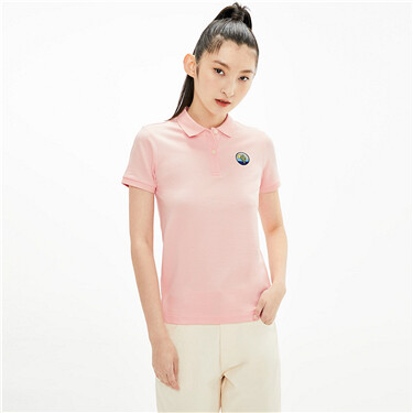 Embroidered Elastic Piqué Short Sleeve Polo