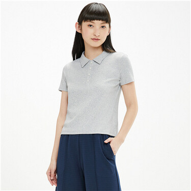 Twill ribbed hem short-sleeve polo shirt