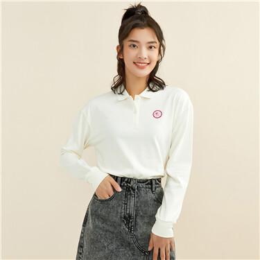 Embroidery badge long-sleeve polo shirt