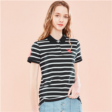Embroidery deer stretchy short sleeve polo