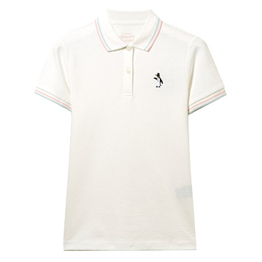Embroidery penguin stretchy polo shirt