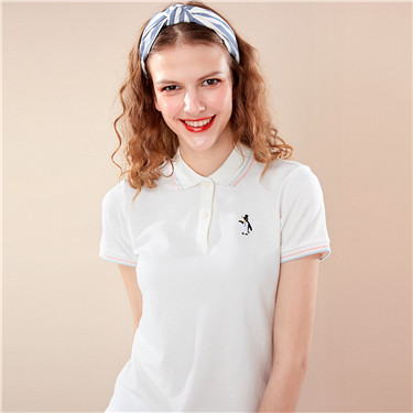 Embroidered penguin stretchy polo