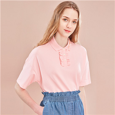 Ruffled loose short-sleeve polo