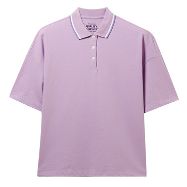 Stretchy loose contrast polo shirt