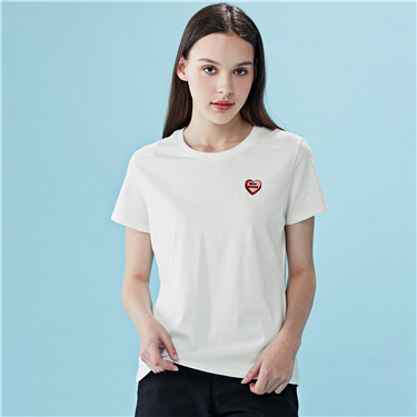 Embroidery crewneck cotton tee