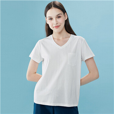 Patch pocket V-neck short-sleeve tee