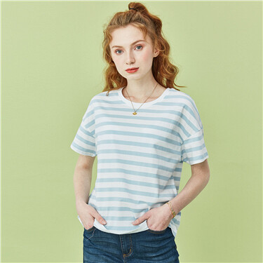 Stripe crewneck short-sleeve tee