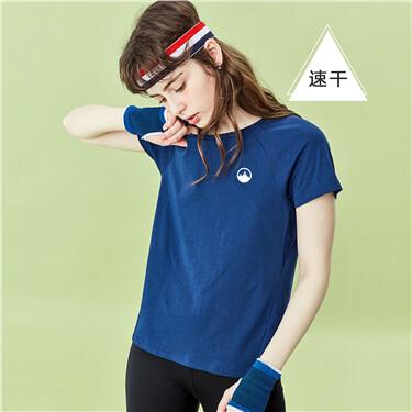 純色速幹圓領短袖T恤