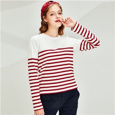 Cotton stripe side vents at hem t-shirt