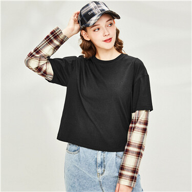 Fake 2-piece dropped-shoulder tee