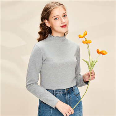 Fungus edge turtleneck long-sleeve tee