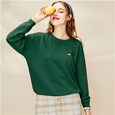 Badge stretchy o-neck sweatshirt