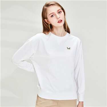 Badge Stretchy Crew Neck Sweatshirt