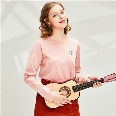 Embroidery Stretchy Crew Neck Long-sleeves Tee