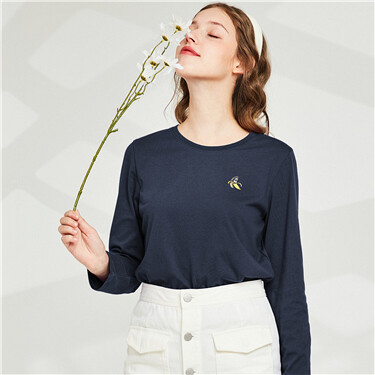 Embroidery Brushed Crew Neck Long-sleeves Tee