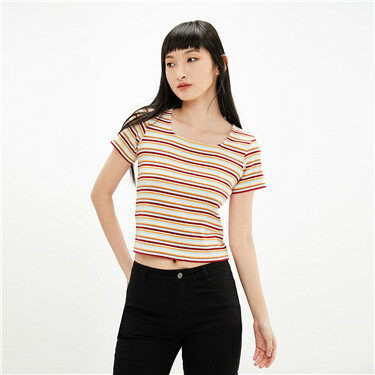 Plain twill square neck tee
