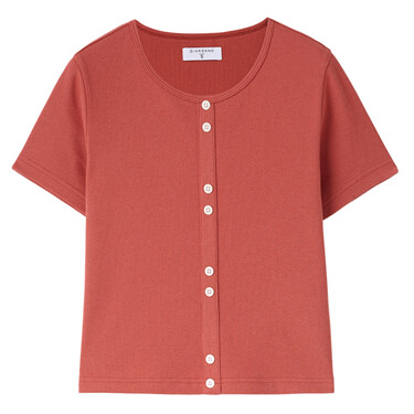 Decorative button twill t-shirt