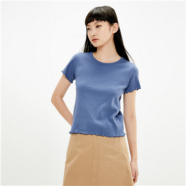 木耳边坑条纯色圆领短袖T恤